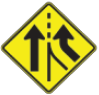 Merging Lanes Ahead road sign